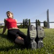 Stock Photo: Woman doing exercise outdoor
