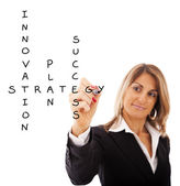 Businesswoman solving a strategy plan — Stock Photo