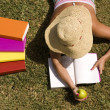 Stock Photo: Studing at the school grass