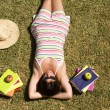 Studing at the school grass — Stock Photo