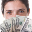 Businesswoman showing the money — Stock Photo