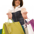 Woman happyness after shopping — Stock Photo