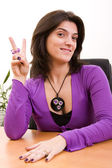 Businesswoman at the office — Stockfoto