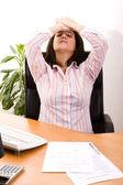 Stressad med hennes arbete — Stockfoto