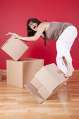 Unpaking stress after the relocation — Stockfoto