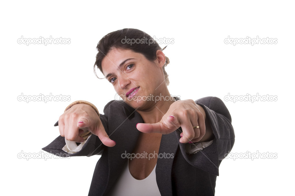 Businesswoman looking powerful and pointing to you (selective focus) — Stock Photo #8430387