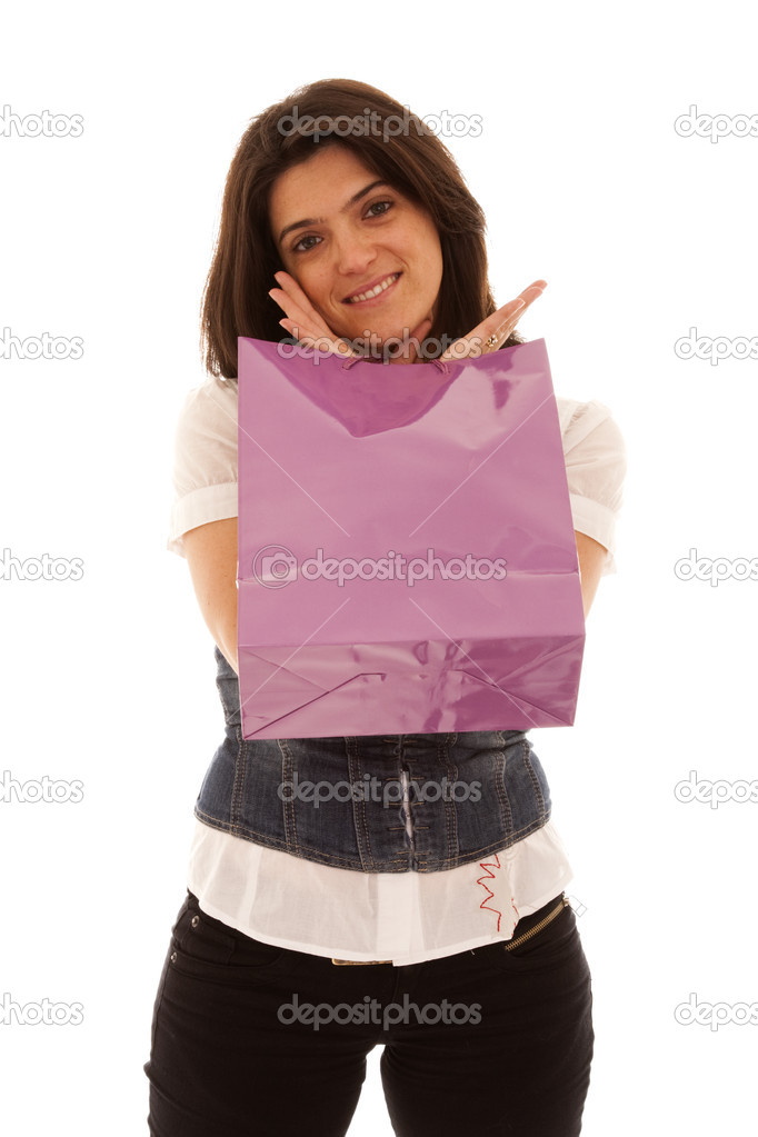 Happy beautiful woman with her shopping bags (isolated on white) — Stock Photo #8436513