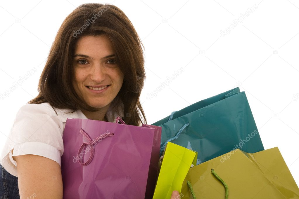 Happy beautiful woman with her shopping bags (isolated on white) — Stock Photo #8436526