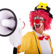 Funny clown with a megaphone — Stock Photo #8441218