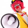 Funny clown with a megaphone — Stock fotografie