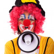 Funny clown with a megaphone — Stock Photo #8441229