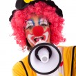 Funny clown with a megaphone — Stock Photo