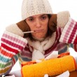 Stock Photo: Woman with flu symptoms