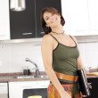 Modern woman at the kitchen — Stock Photo #8444396