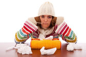Woman with flu symptoms — Stock Photo