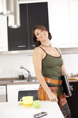 Modern woman at the kitchen — Stock Photo