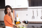 Woman eating her breakfast — Foto de Stock