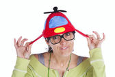 Woman with a funny hat — Stock Photo