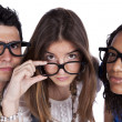 Three smart student friends — Stock Photo