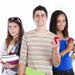 Three teenage studens — Stock Photo