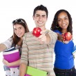Three teenage students — Stock Photo