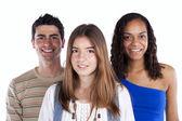 Drie gelukkige tieners — Stockfoto
