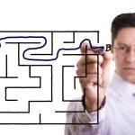 Maze solution — Stock Photo