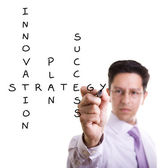 Businessman solving a strategy plan — Stock Photo
