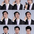 Businessman expression talking on the cellular — Stock Photo