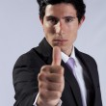 Businessman thumb up — Stock Photo