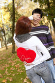 Young couple celebrating Valentine Day — Stok fotoğraf