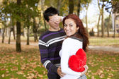 Young couple celebrating Valentine Day — Стоковое фото