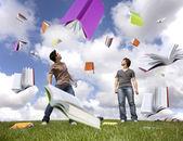 Regen van boeken — Stockfoto