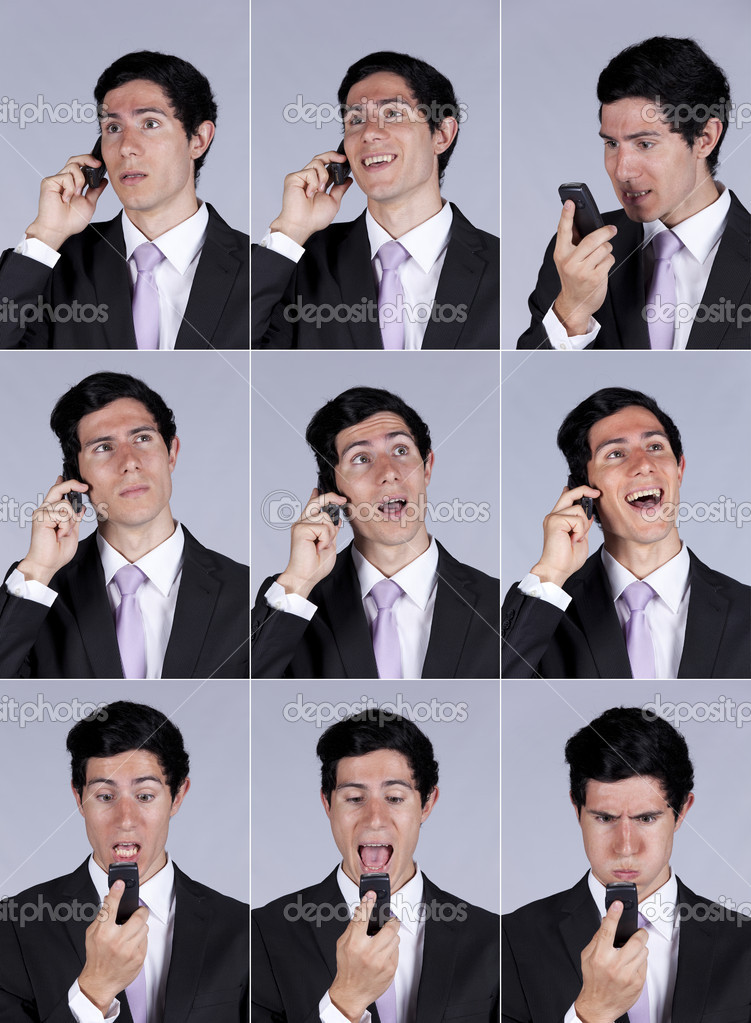 Multiple images of a businessman face expression while talking on his cellular (isolated on gray) — Stock Photo #8634898
