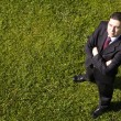 Businessman in the grass — Stock Photo #8644080