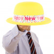 New year yellow hat — 图库照片