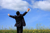 Businessman outstretched on a field — Stock Photo