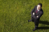 Businessman in the grass — Stock Photo