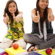 Two young student sisters — Foto Stock