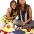 Two young student sisters — Stock Photo