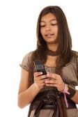 Teenager sms addiction — Stock Photo