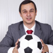 Soccer manager at the office — Stock Photo #8661468