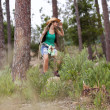 Woman hiking at the forest — Stock Photo #8666136