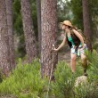 Woman hiking at the forest — Stock Photo #8666138