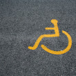 Yellow Sign For Disabled Parking — Stock Photo