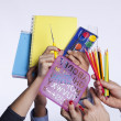 Hands holding education objects — Stok Fotoğraf #8666847