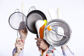 Hands holding kitchenware tools — Stockfoto