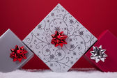 Three christmas presents — Stockfoto