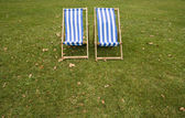 Lonely striped chairs — Stock Photo