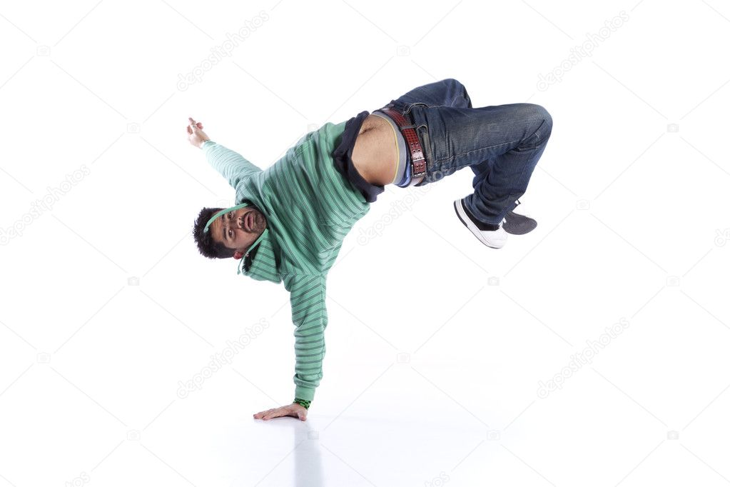 Hip hop dancer showing some movements (isolated on white) — Stock Photo #8664397